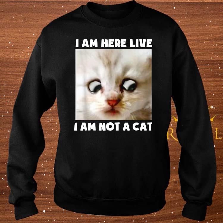 I Am Here Live I Am Not A Cat Funny Lawyer Cat Meme Shirt sweater