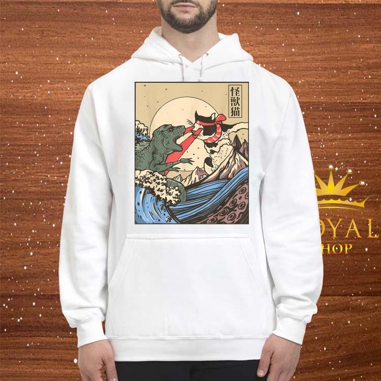 Japanese Great Wave Cat Vs Monster Shirt hoodie