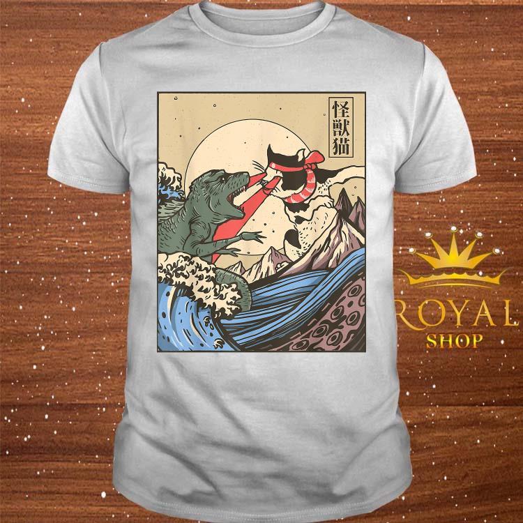 Japanese Great Wave Cat Vs Monster Shirt