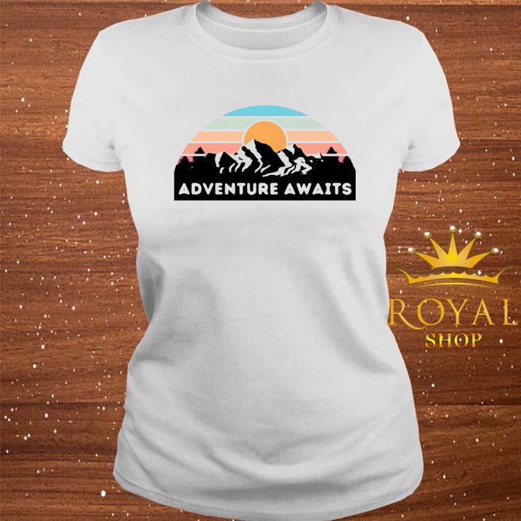 Nice Adventure Awaits Mountain Retro Shirt ladies-tee