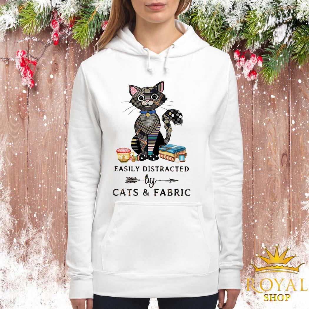 Easily Distracted By Cats And Fabric Women Hoodie