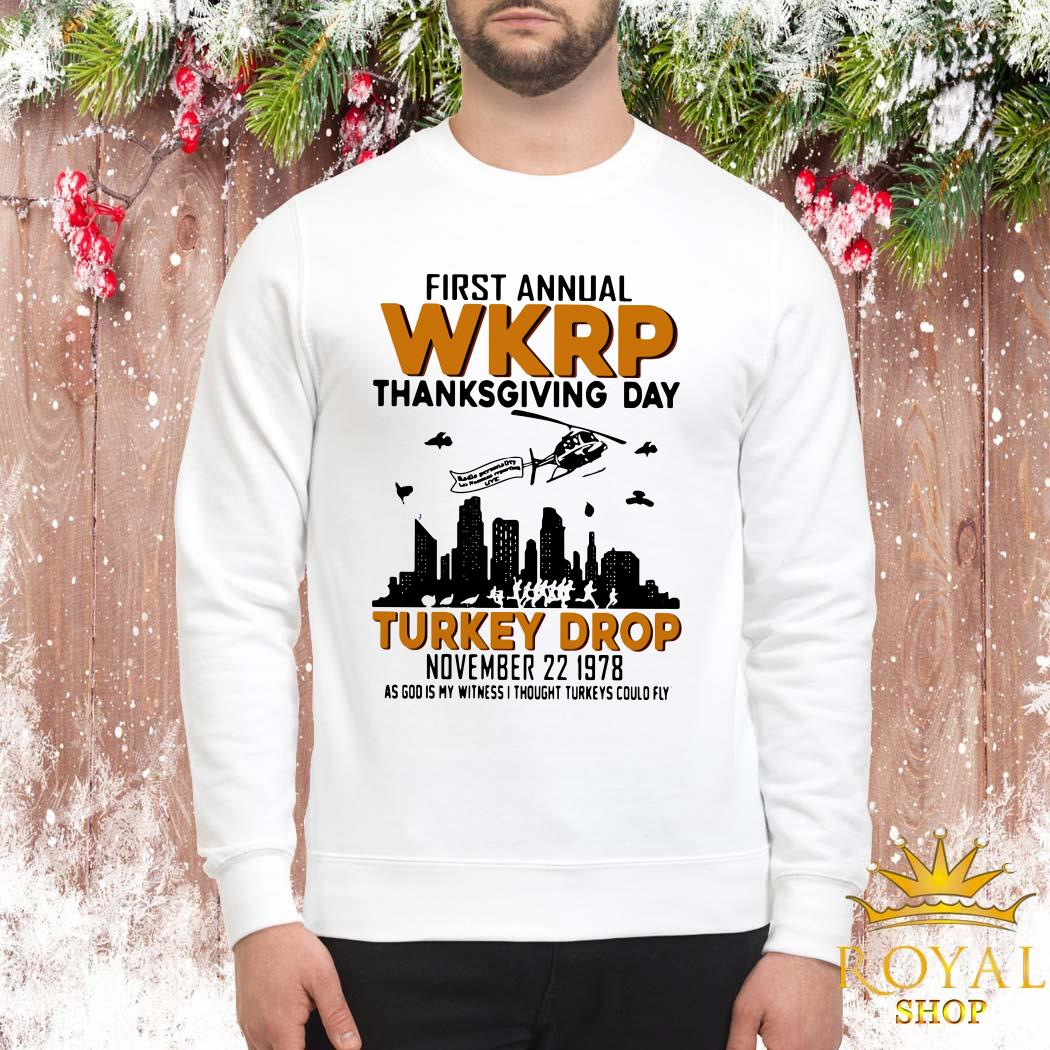 First Annual Wkrp Thanksgiving Day Turkey Drop November 22 1978 Sweater