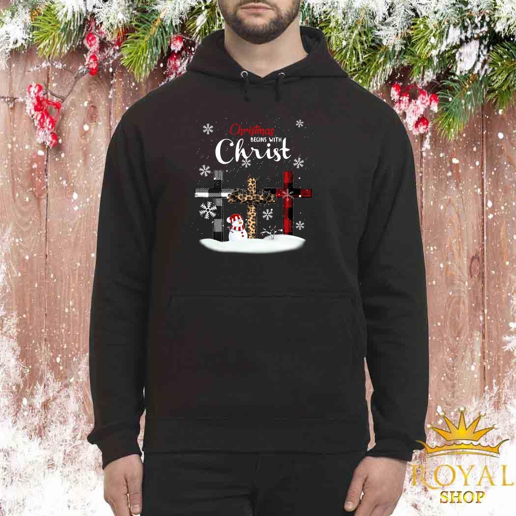 Snowman Christmas Begins With Christ Unisex Hoodie