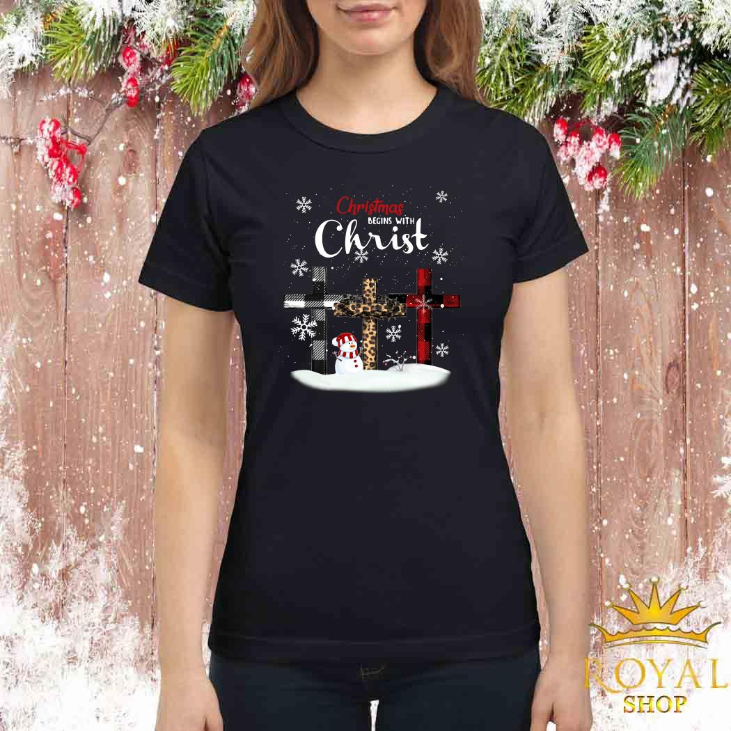 Snowman Christmas Begins With Christ Ladies Shirt