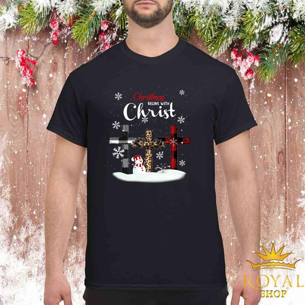 Snowman Christmas Begins With Christ Shirt