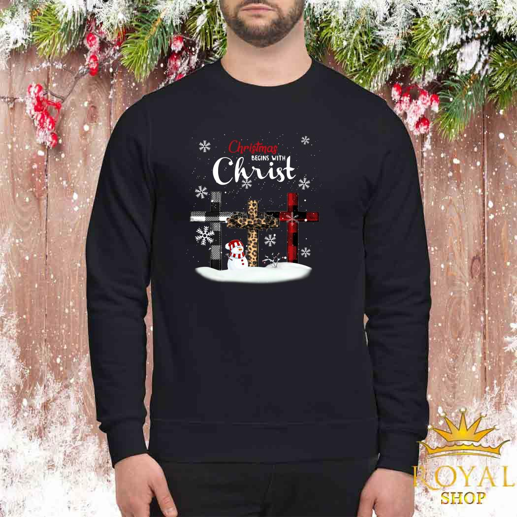 Snowman Christmas Begins With Christ Sweater