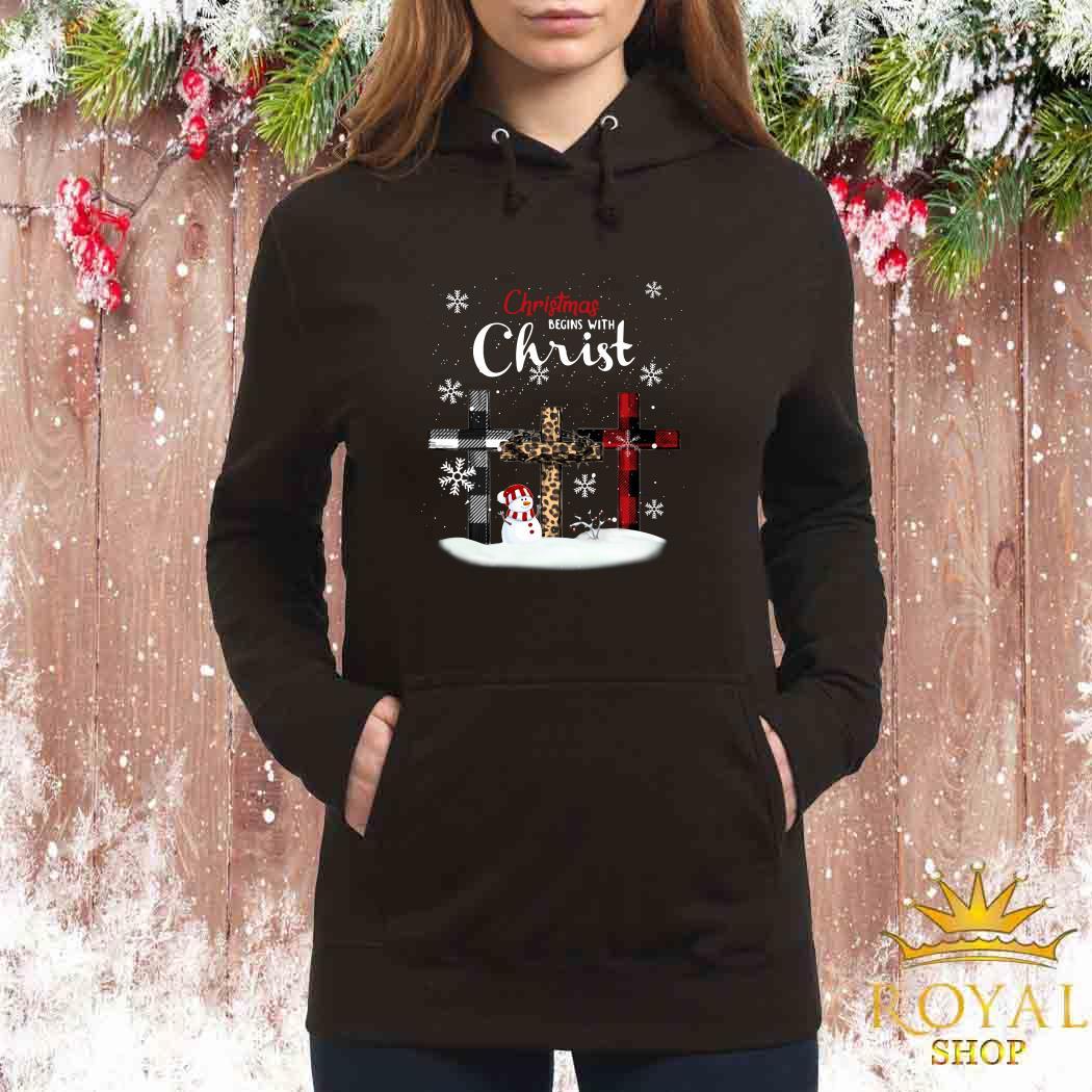 Snowman Christmas Begins With Christ Women Hoodie