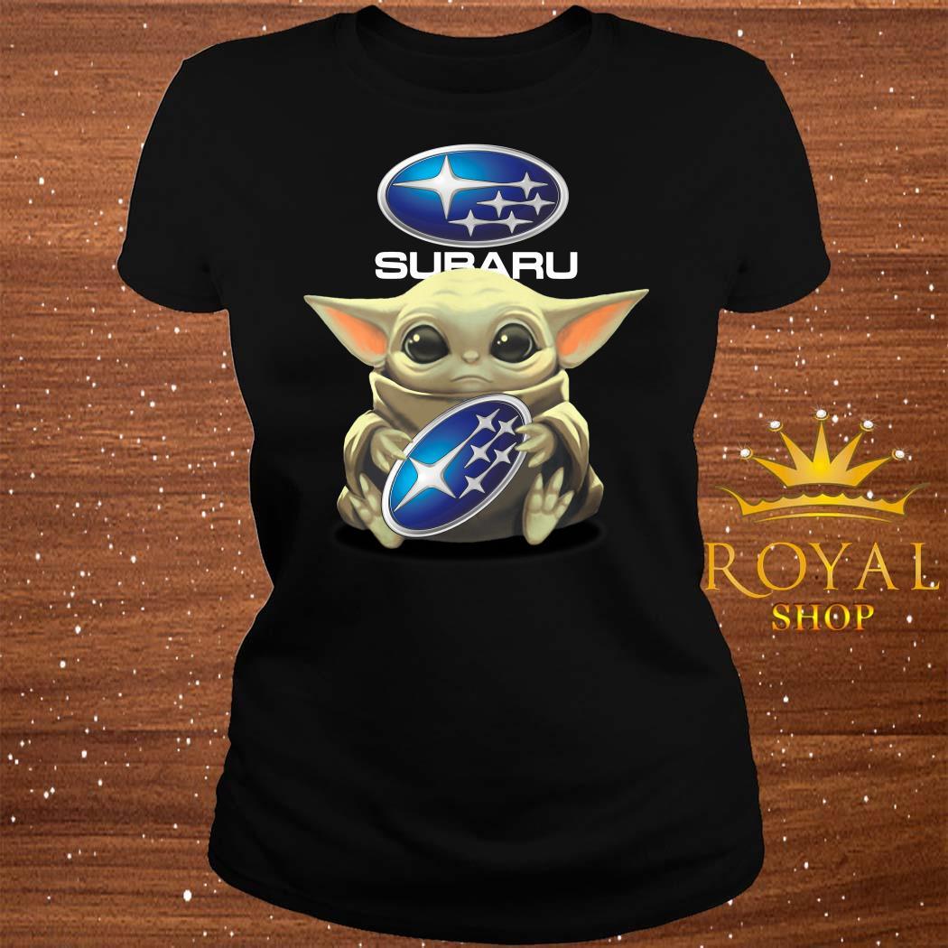 Baby Yoda Hug Subaru ladies Tee