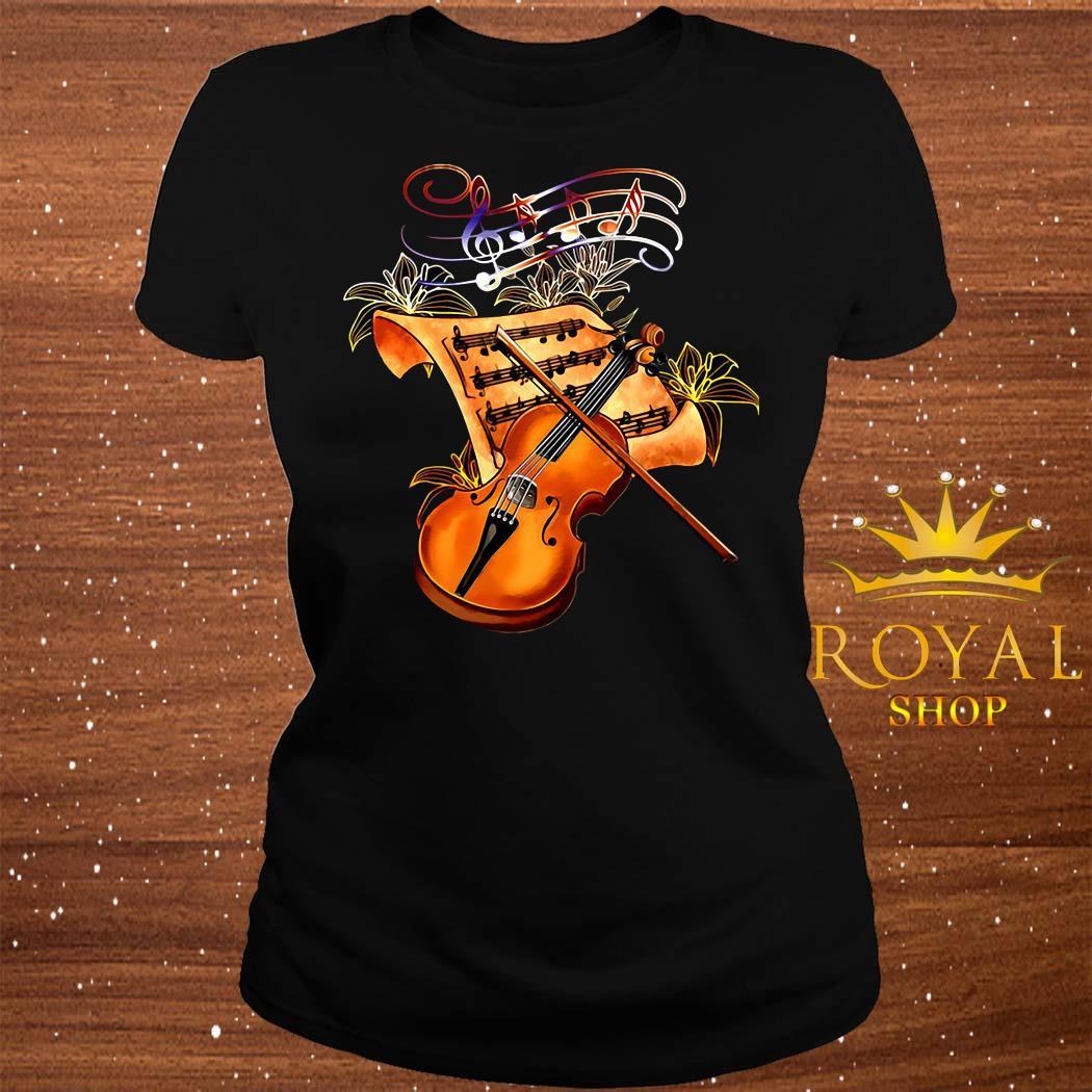 Violin Musically Gold Flower ladies Tee