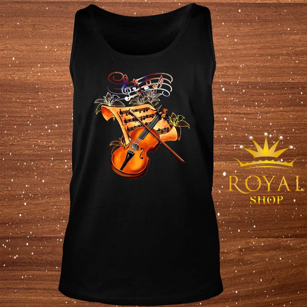 Violin Musically Gold Flower tank-top