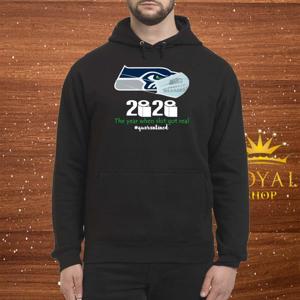 Seattle Seahawks Mask 2020 The Year When Shit Got Real Quarantined Shirt Hoodie
