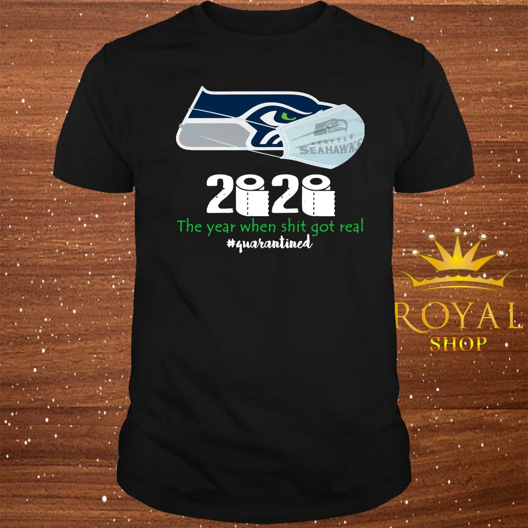 Seattle Seahawks Mask 2020 The Year When Shit Got Real Quarantined Shirt