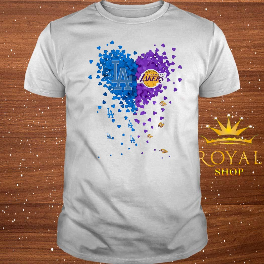 Los Angeles Dodgers And Los Angeles Lakers Tiny Hearts Shape Shirt