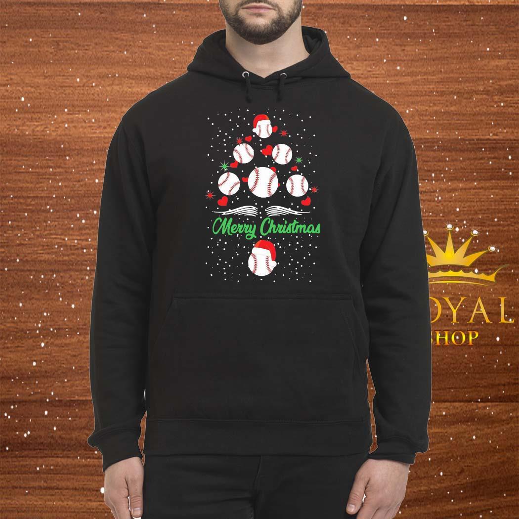 Baseball Christmas Tree Shirt Hoodie