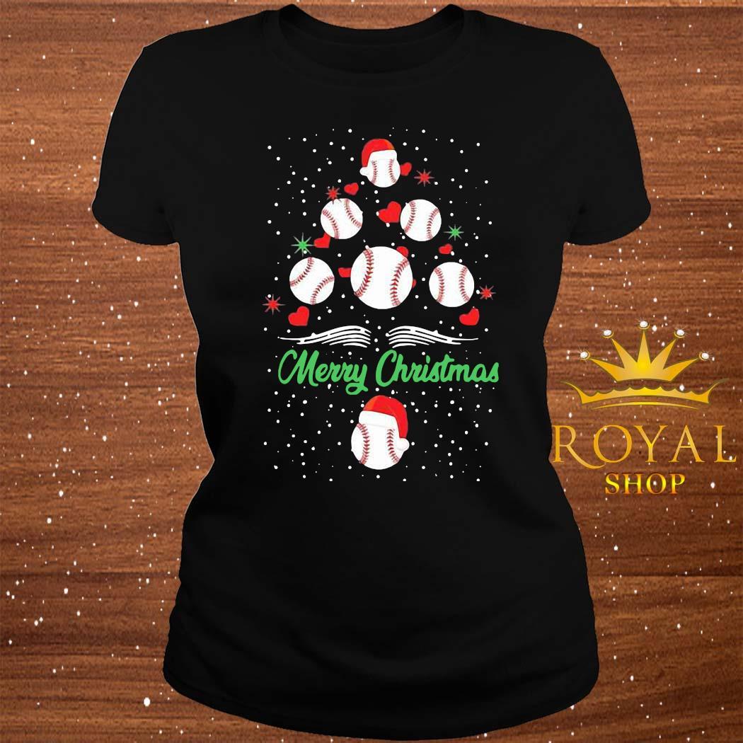 Baseball Christmas Tree Shirt ladies-tee