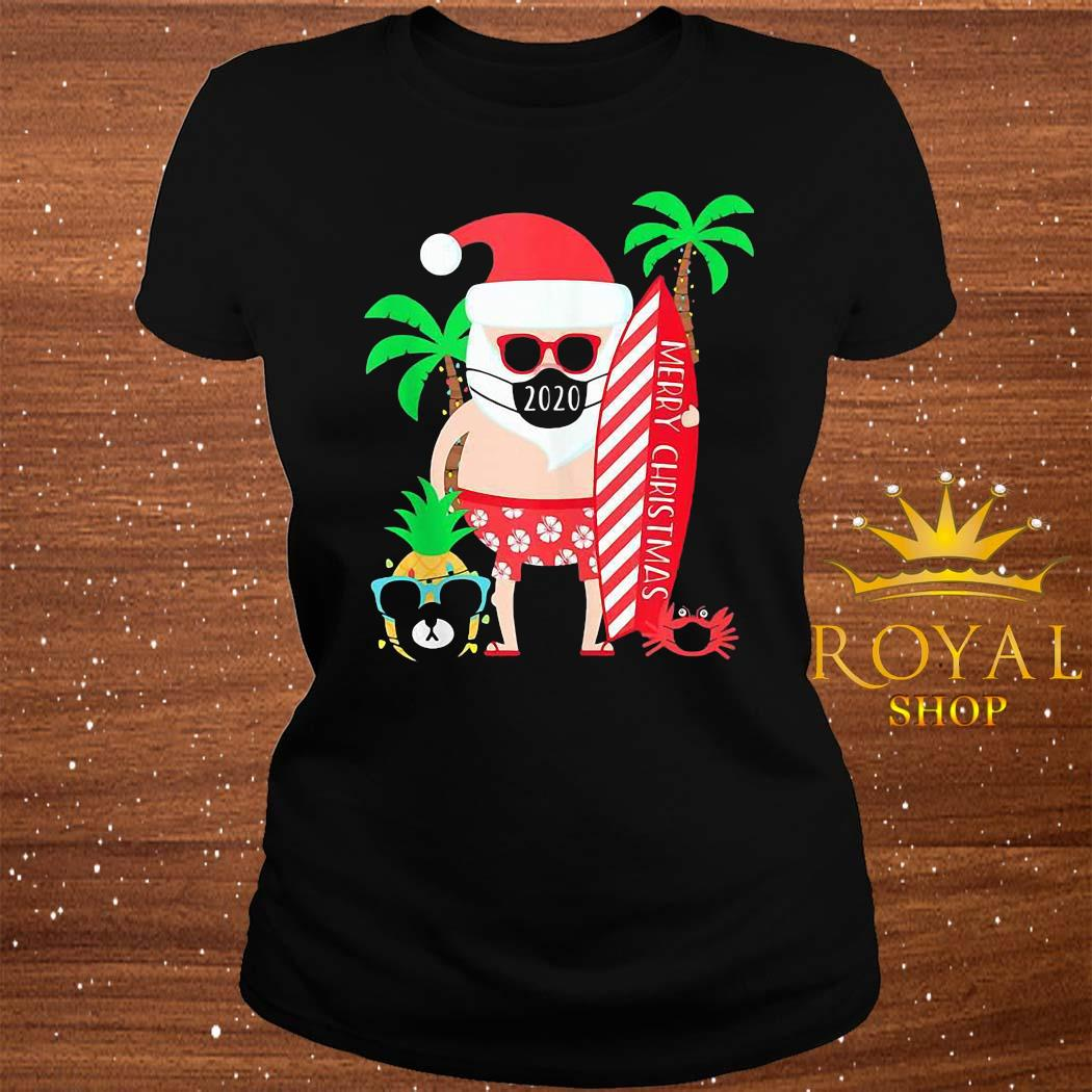 Christmas Surfing Santa With Mask Shirt ladies-tee