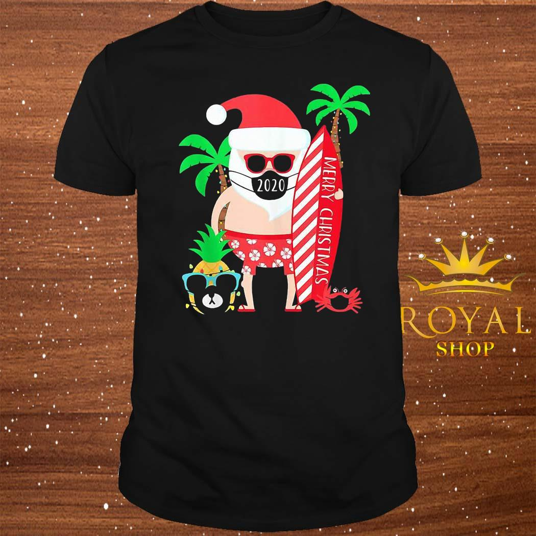 Christmas Surfing Santa With Mask Shirt