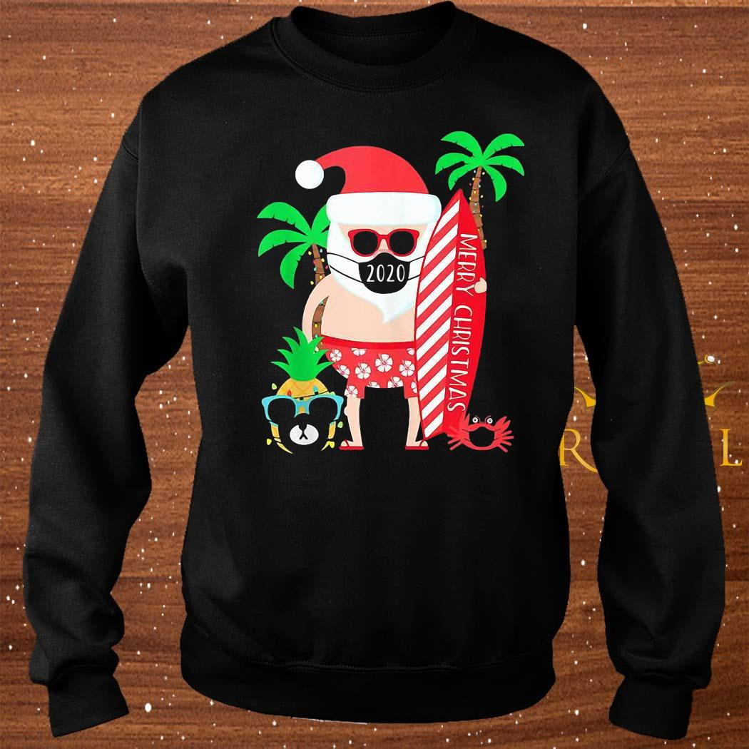 Christmas Surfing Santa With Mask Shirt sweater