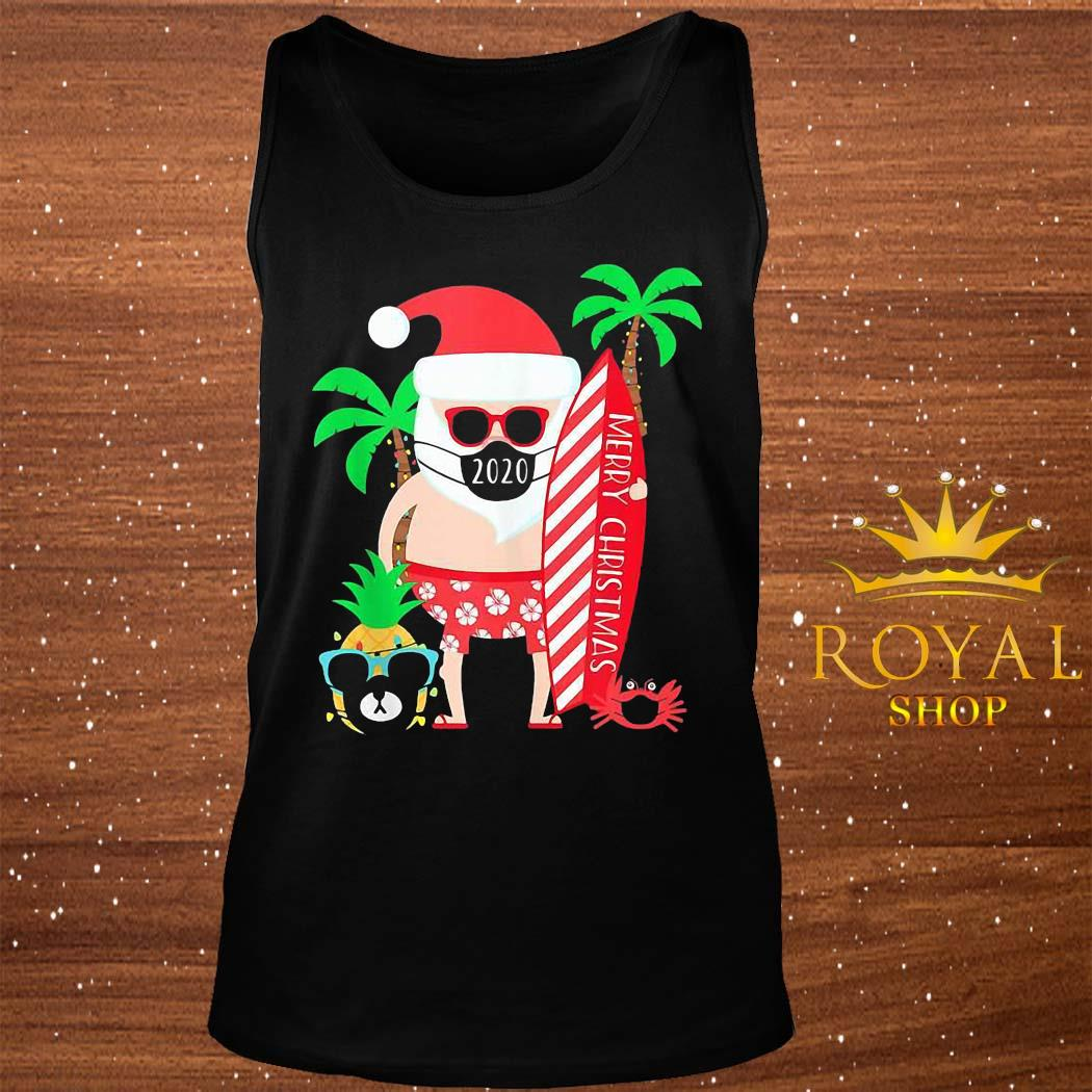 Christmas Surfing Santa With Mask Shirt tank-top