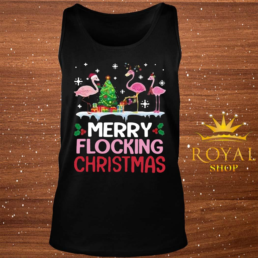 Flamingo Merry Flocking Christmas Shirt tank-top
