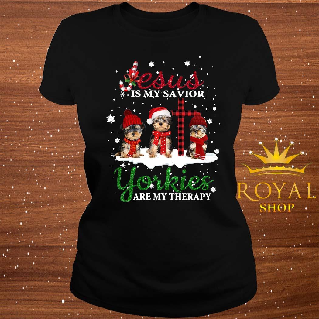 Jesus Yorkies Are My Therapy Christmas Shirt ladies-tee