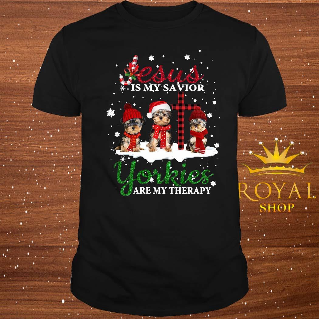 Jesus Yorkies Are My Therapy Christmas Shirt