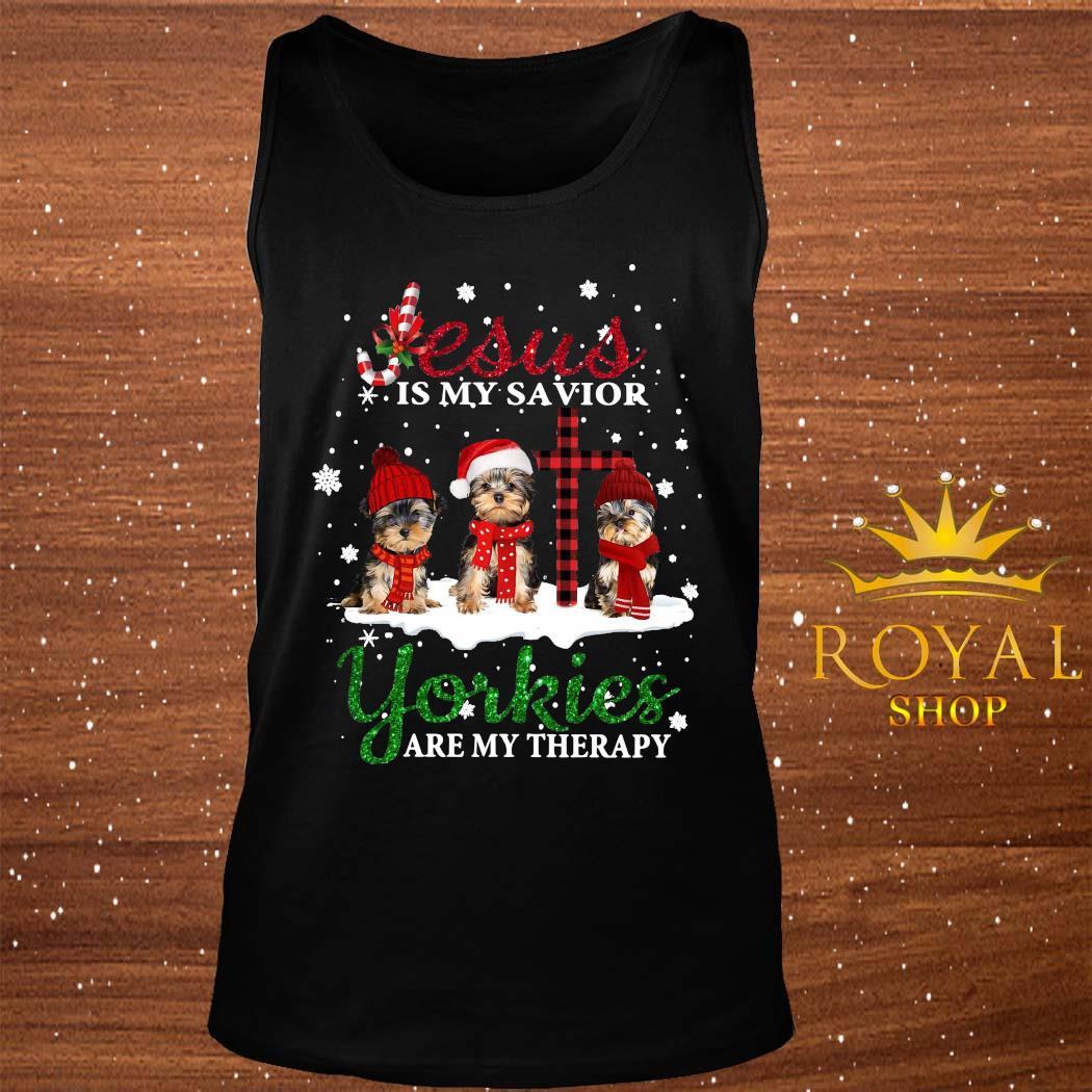 Jesus Yorkies Are My Therapy Christmas Shirt tank-top