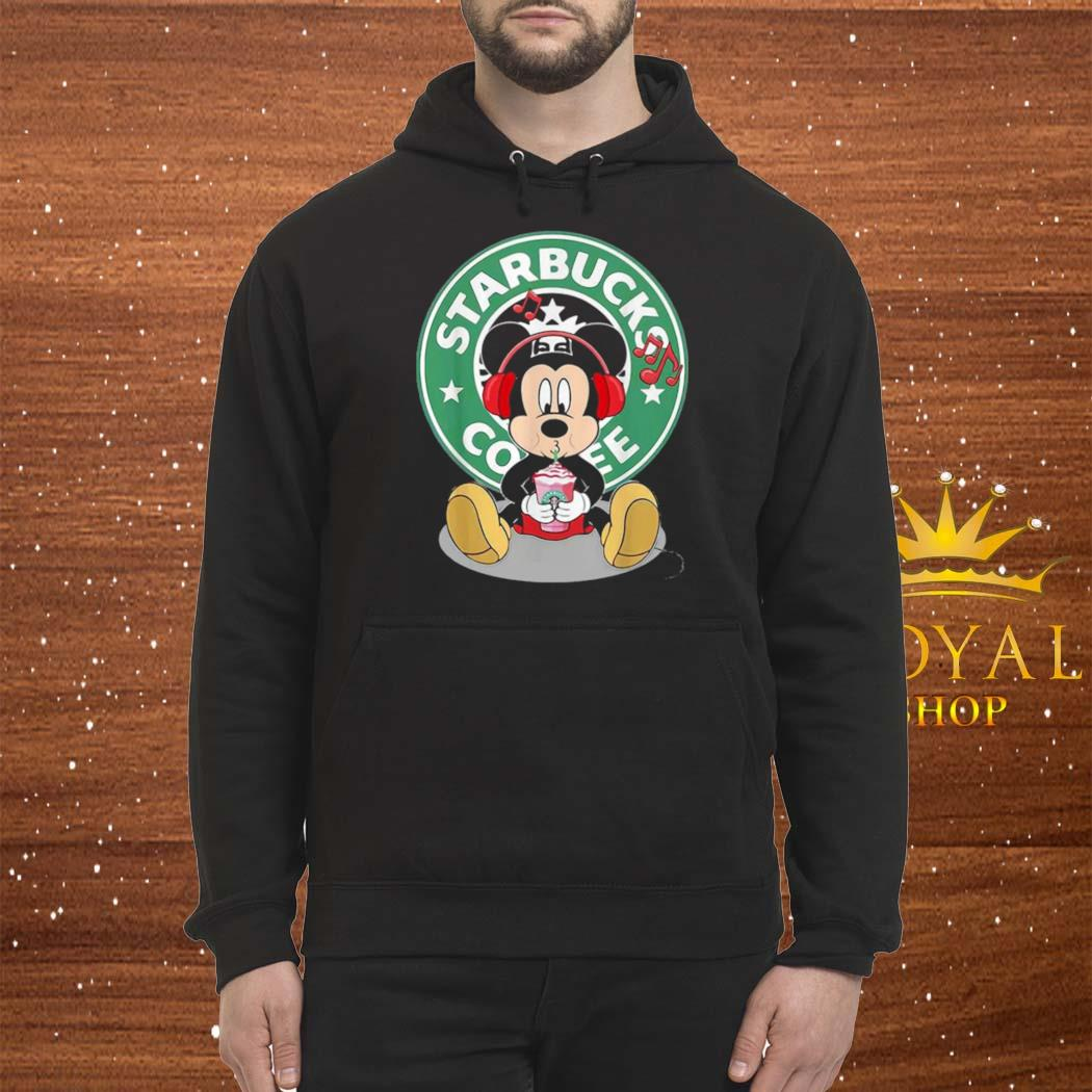Mickey Mouse Drinking Starbucks Coffee And Listening Music Shirt Hoodie
