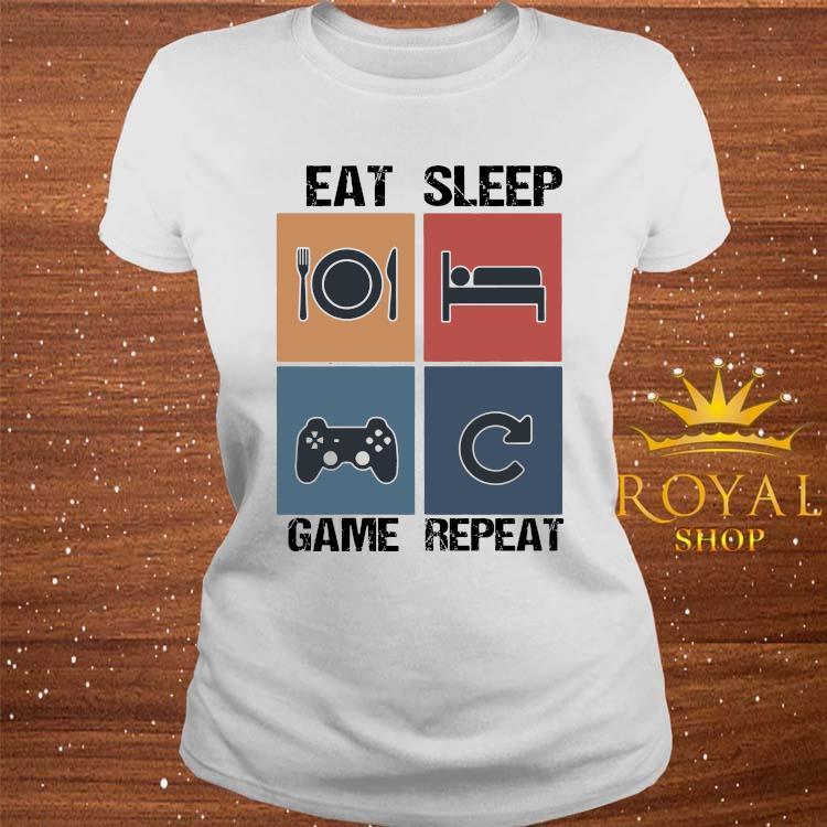 Eat Sleep Game Repeat Shirt ladies-tee