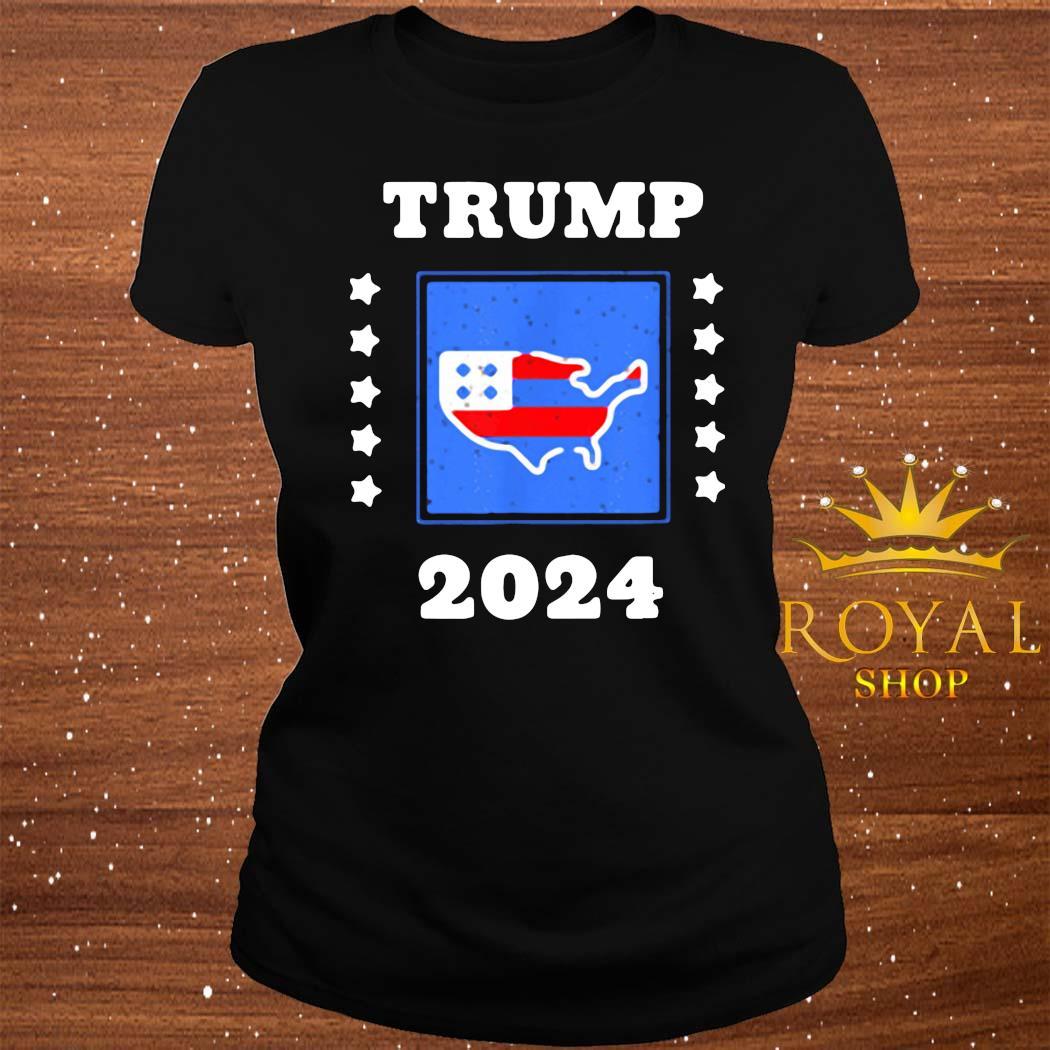 Trump 2024 Election Flag Keeping America Great American Flag President Shirt ladies-tee