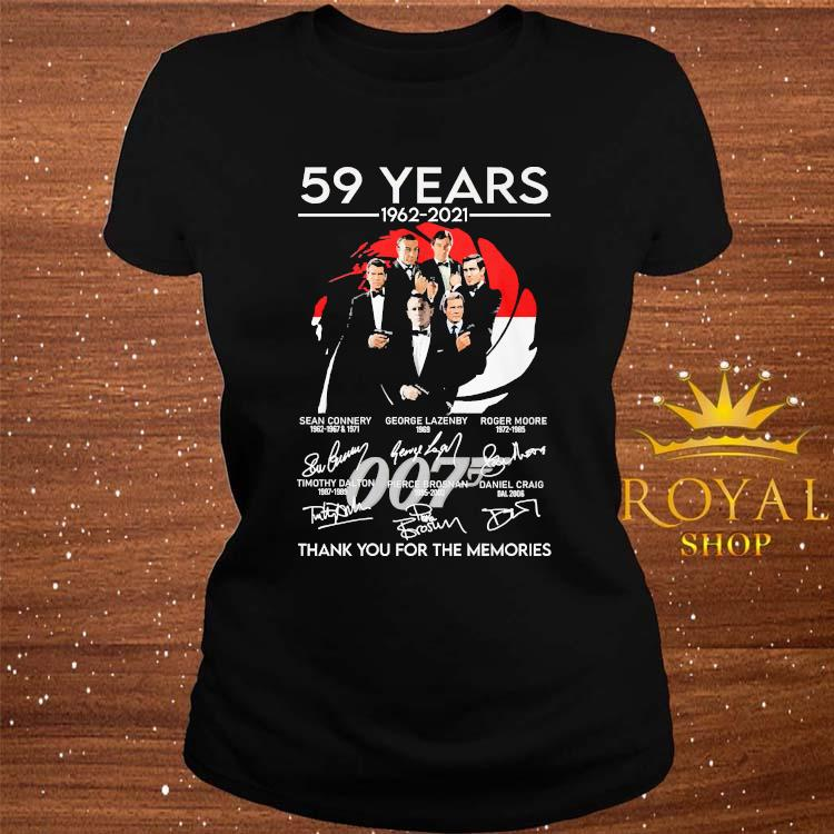 007 59 Years 1962 2021 Thank You For The Memories Signatures Shirt ladies-tee
