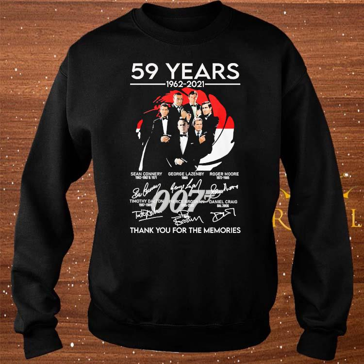 007 59 Years 1962 2021 Thank You For The Memories Signatures Shirt sweater